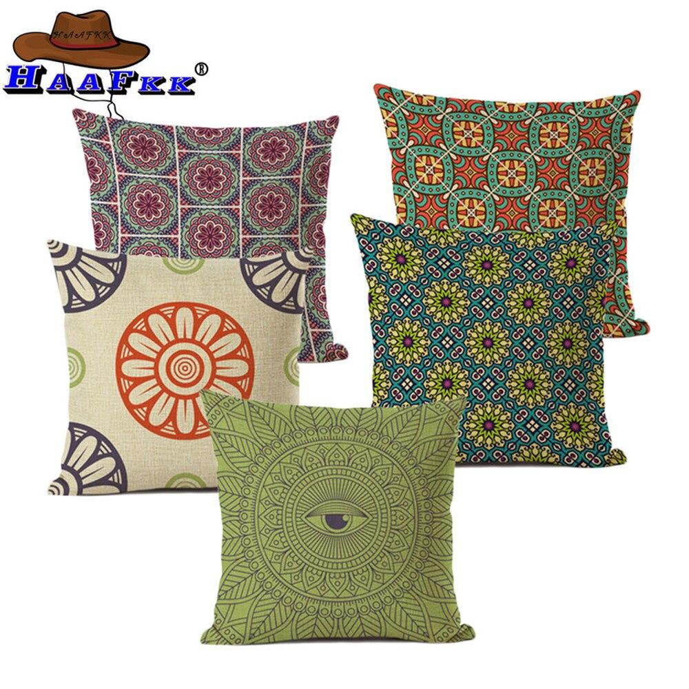Gran oferta de coloridos estampados tribales aztecas con patrones geométricos, abstractos de arcoíris étnicos a cuadros, funda de cojín decorativa funda de cojín para sofá