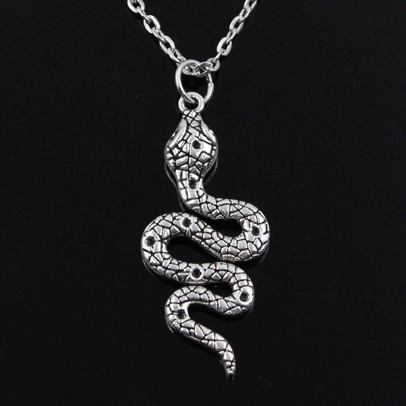 Nuevos colgantes de la Cobra de la serpiente de la manera cadena cruzada redonda cortocircuito largo para hombres mujeres Collar de plata regalo de la joyería