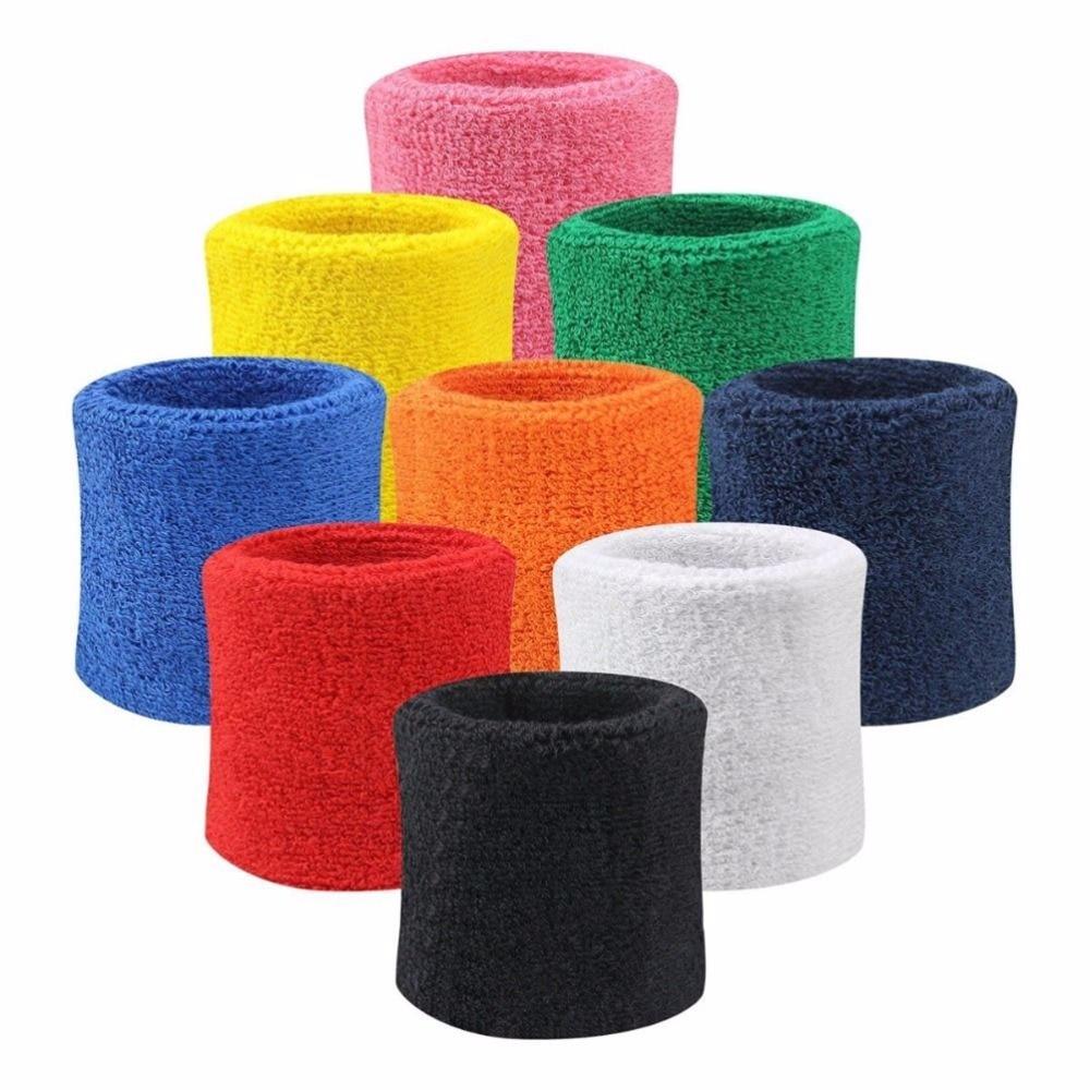 2PCs Professional Fitness Wristbands Sport Sweatband Hand Band Sweat Wrist Support Brace Wraps Tennis Badminton Basketball Guard
