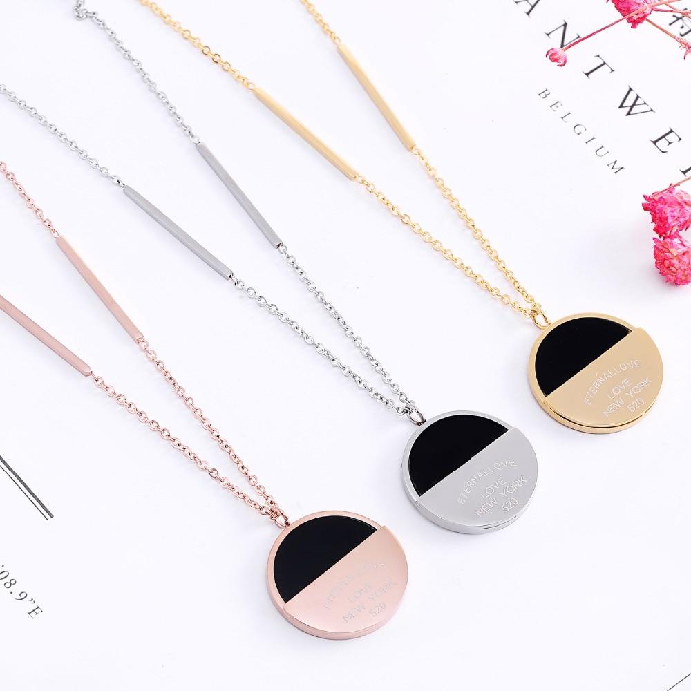 Rosa oro plata colores medio redondo negro Shell largo Collar para mujer 316L Acero Inoxidable marca joyería