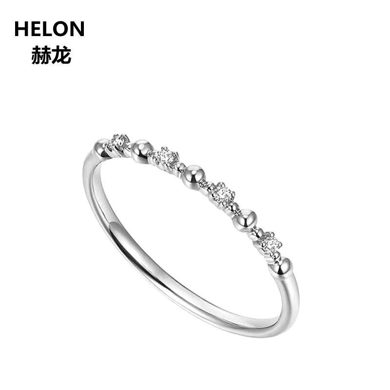 Mujeres diamantes naturales anillo de compromiso sólido 10 k oro blanco aniversario boda banda fina joyería aceptar personalizado