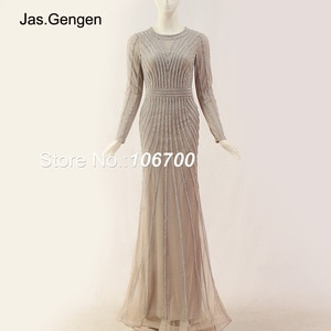 New Heavy Beading Crystal Stones Evening Dress Full Lined Long Sleeve Mermaid Prom Gown 966-18L