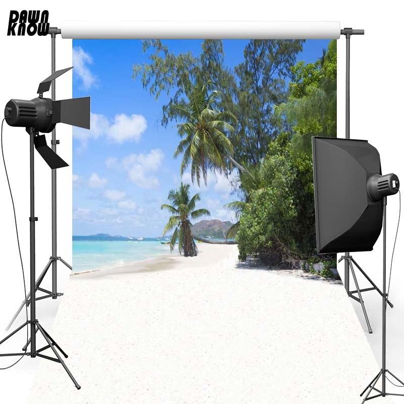 Fondo de fotografía de vinilo de árbol de playa de Playa de verano para Recién Nacido nuevo fondo de tela de poliéster para estudio fotográfico familiar F2625