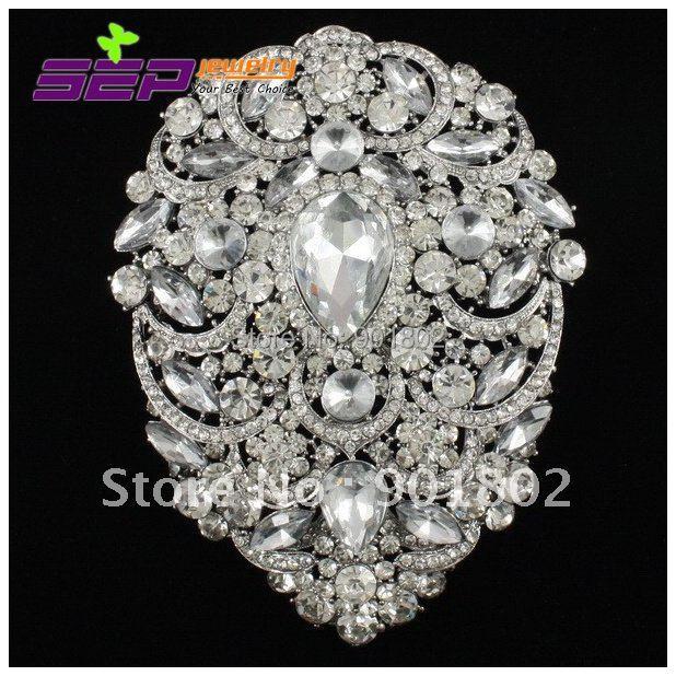 "Broches de boda grandes flor bastante clara colgante broches joyería nupcial 4,9 ""con cristales de diamantes de imitación de gota 4045"