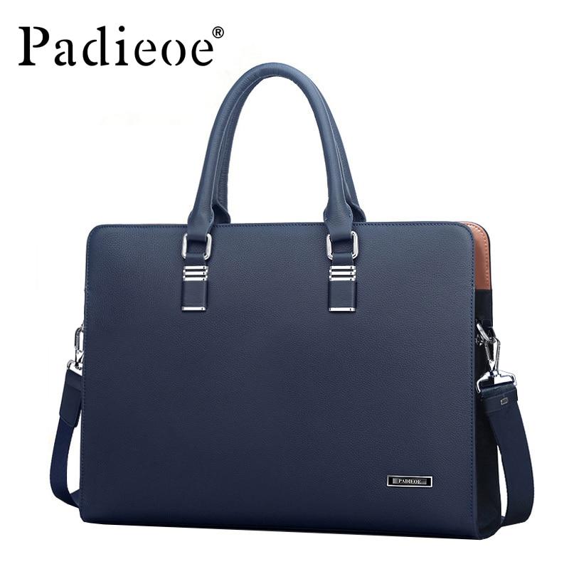 Padieoe-حقيبة كمبيوتر محمول من جلد البقر الأصلي للرجال ، حقيبة يد رجالية ، حقيبة كتف غير رسمية