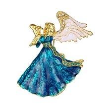 Ange ailes musique ange broche pour femmes fille robe accessoires vert & blanc cristal broche strass broches couleur aléatoire