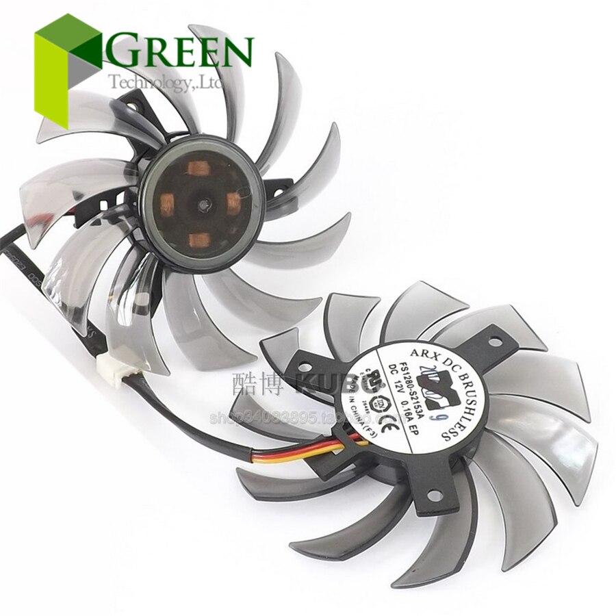 Nova ARX FS1280-S2153A 12 V 0.16A 75mm de diâmetro 39/40mm buraco pitch para gigabyte gt240 gtx460 560 430 440 440 placa gráfica fã