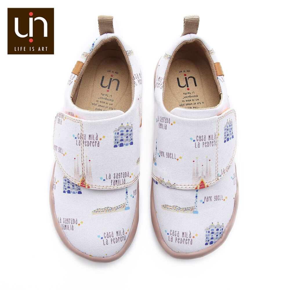 UIN Art City Design Painted Canvas White Shoes for Kids Soft Round Toe Casual Flats Boys/Girls Comfort Outdoor Shoe Sneakers enlarge