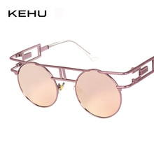 KEHU Retro Round Frame Glasses Classic Round Sunglasses Women Sun Protection Sunglasses Pilot New Fashion Round Eyeglasses UV400