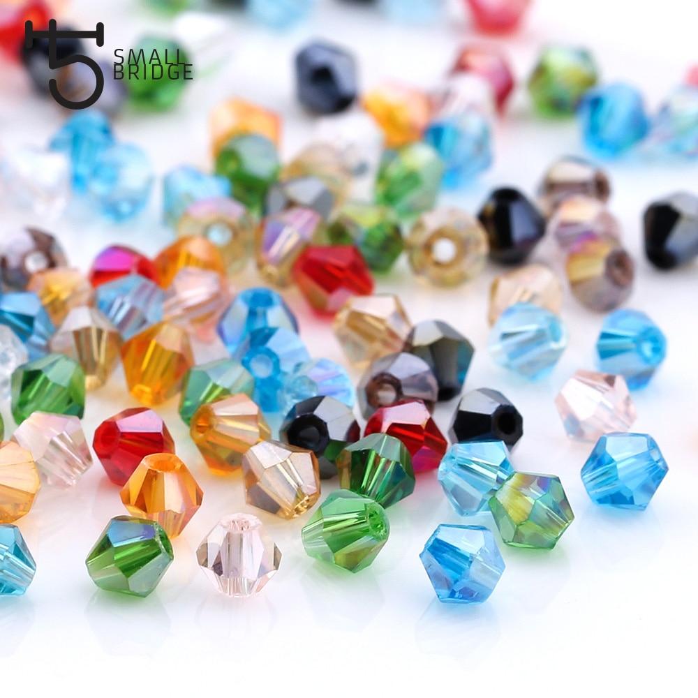 3 4 6mm Österreichischen Doppelkegel Kristall Perlen für Schmuck Machen Diy Zubehör Multicolor Faceted Glas Spacer Perlen Großhandel