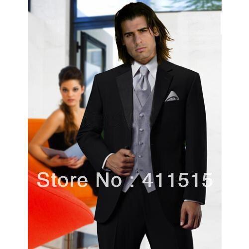 FREE shipping/Custom Made cheap man tuxedos/Black Groom wear dress Notch Lapel Groomsmen Men Wedding men wear Suits