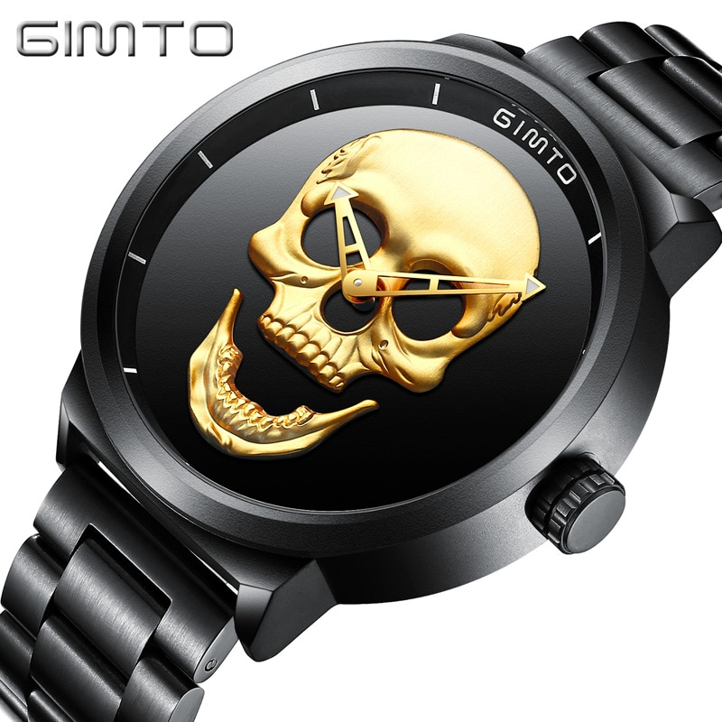 Reloj GIMTO Cool Punk 3D de calavera de acero de lujo de cuarzo para hombre relojes a prueba de agua Retro de moda Oro Negro reloj Relogio