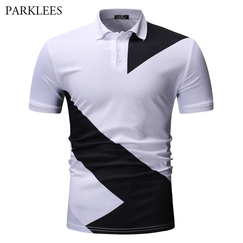 Polo de marca para hombre, Camisa Polo clásica de manga corta de retales en blanco y negro, nueva camiseta de moda 2019 para negocios, Camisa Polo Masculina
