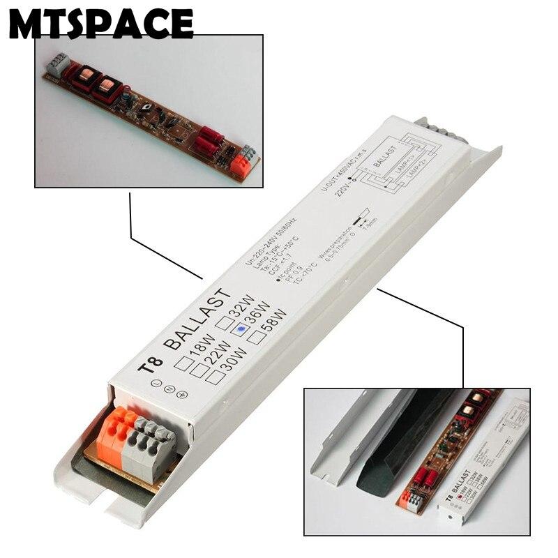 MTSPACE Высокое качество 220-240 В переменного тока 36 Вт широкое напряжение T8 электронный балласт флуоресцентные балласты для ламп