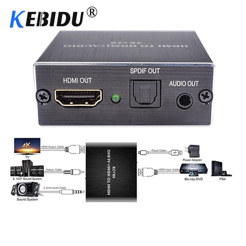 KEBIDU 4K x 2K HDMI аудио экстрактор + оптический TOSLINK SPDIF + 3,5 мм стерео аудио экстрактор конвертер HDMI аудио сплиттер