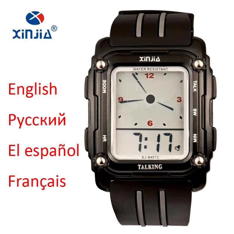 2020 New Talking Watch Sport Men Waterproof Alarm Big Screen Simple Speak Spanish Russian English Fr