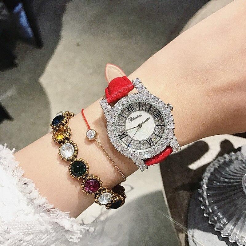 New Rhinestone Ladies Watch Women Diamond Dress Watches Fashion Leather Strap Woman 2019 Elegant Female Clock montre femme