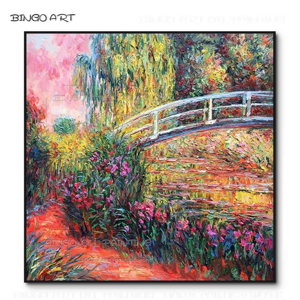 Artist Hand-painted Water Lilies and Bridge Oil Painting Claude Monet Painting Vintage Home Decoration Japan Bridge Oil Painting
