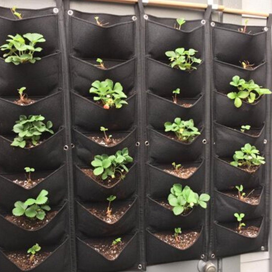 Bolsa de cultivo planta vegetal colgante de pared Vertical bolsillos de jardinería tela de fieltro negra macetas suministros de jardín
