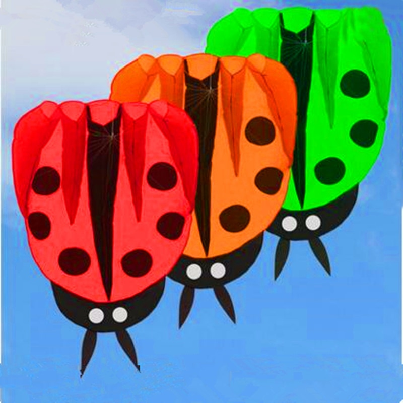 free shipping large ladybug kite ripstop nylon fabric kite buggy animated kites for kids inflatable kite beautiful handle fish недорого
