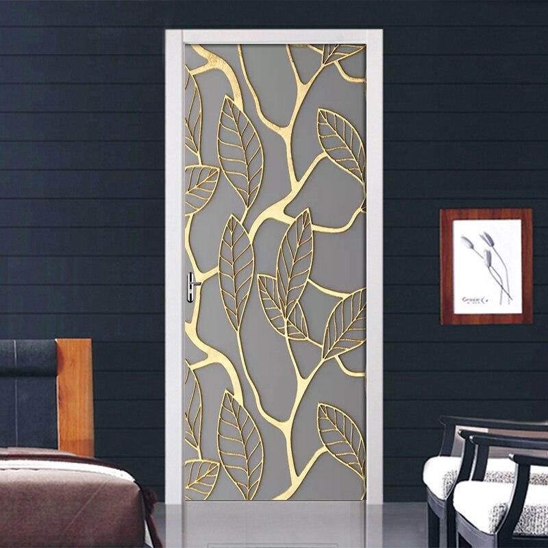 Adhesivo 3D creativo para puerta de hojas doradas, adhesivo DIY para decoración del hogar, papel tapiz autoadhesivo, Mural impermeable para la renovación de puerta del dormitorio