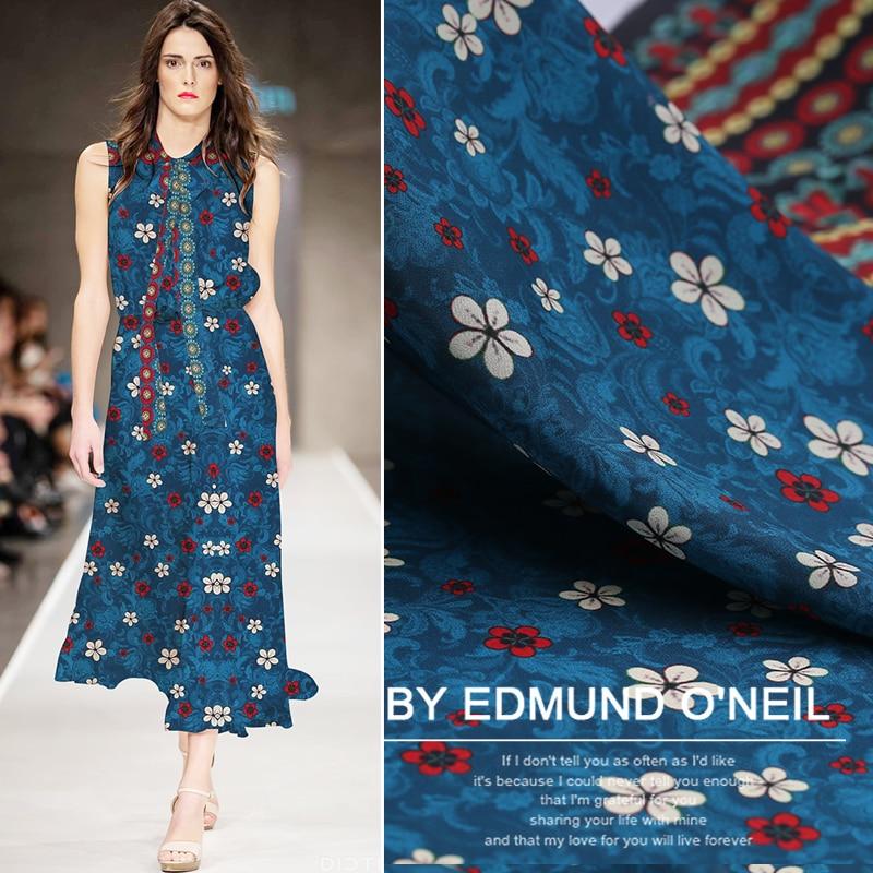 Posicionamento do estilo nacional pintura digital crepe de tecido de seda para o vestido de seda bazin riche getzner tissu telas por metro