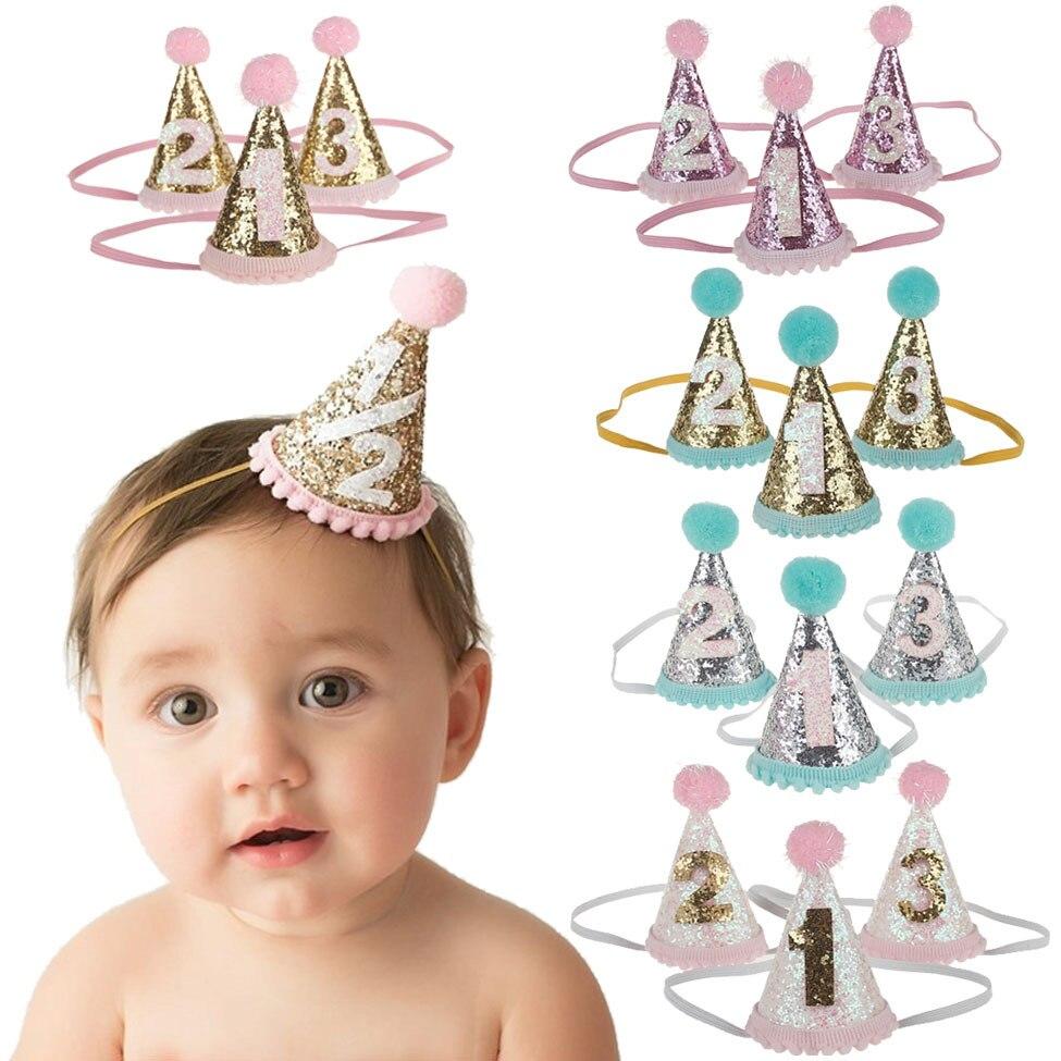 Acessórios de cabelo cintilante coroa bebê menina headbands hairball elástico multicolorido infantil bebê bandana festa aniversário headwear