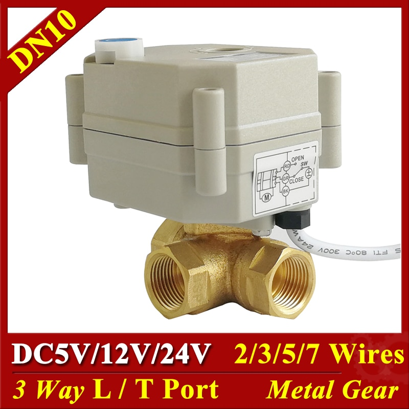 Tsai Fan DC5V 12V 24V Electric Valve 3 Way Brass DN10 3/8'' Horizontal T/L Port Motorized Ball Valve 2/3/5/7 Wires Metal Gear