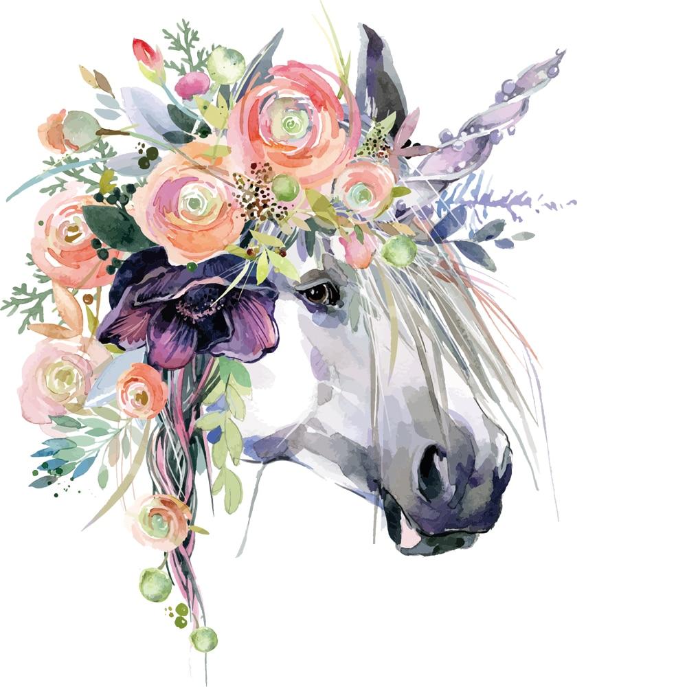 Plancha de transferencia de calor con bonito caballo flowersPatch en parche A nivel prendas de ropa lavables pegatinas impresión fácil por planchas domésticas