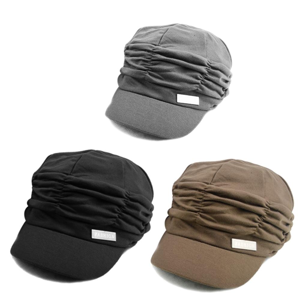 2019 Hot Korean Solid Hat Women Autumn Winter Knited Hat Pleated Newsboy Cap Warm Outdoors Visor Skull Brown Cotton Casual