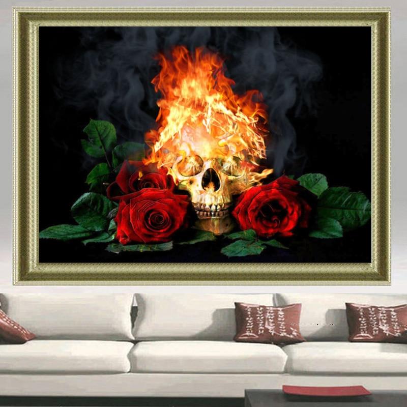 5d diy Diamond embroidery Fire skull & red rose diamond painting Cross Stitch Rhinestone mosaic decor wall painting