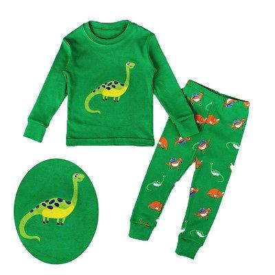 Conjunto de pijamas de ropa de dinosaurio para bebé y niña, pijama de niño, ropa de dormir para casa, Color verde 2-7T
