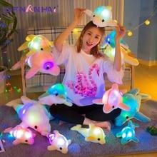 1pc 32cm Kleurrijke Gloeiende Dolfijn Knuffel Kawaii Lichtgevende Pluche Poppen Gevulde Doll met Led Licht Leuke Gift voor Kinderen Meisjes