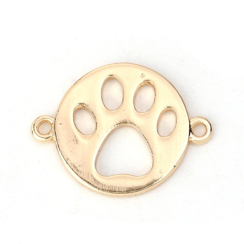 Медные разъемы DoreenBeads, золотистые круглые аксессуары для ювелирных изделий в виде собачьей лапы, 16 мм (5/8 дюйма) x 12 мм (4/8 дюйма), 5 шт.