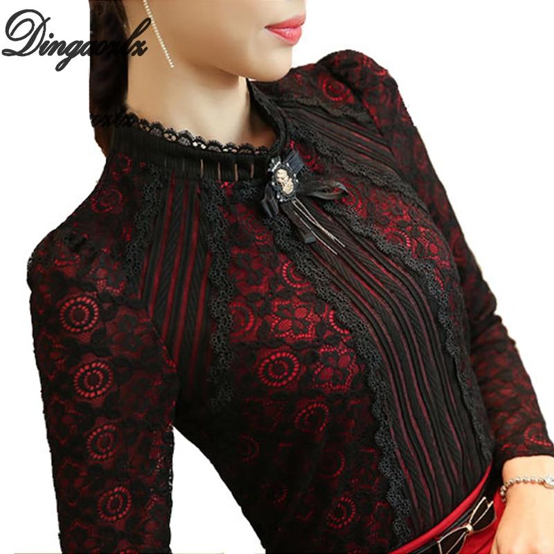 Dingaozlz Royal Elegant Women shirt 2018 Spring Fashion Ladies Lace blouse Plus size Female Lace Tops New brand Women clothing
