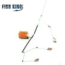 Peixe rei 1 pc 45 cm comprimento 40g-100g três ganchos carpa pesca alimentador isca gaiola isca conector titular cesta para pesca equipamento