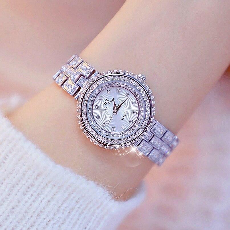 Nuevo diseño de 32mm de lujo, esfera de diamante, relojes para mujer, reloj elegante para mujer, reloj de moda informal para chica, relojes de cuarzo, reloj de mujer