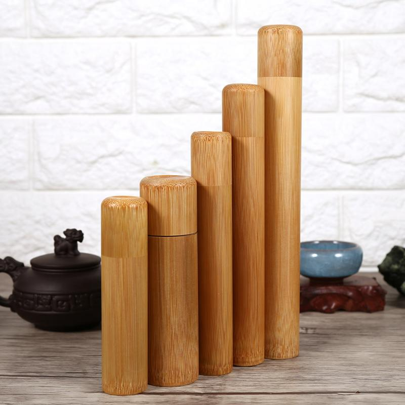 Портативный 1 шт. круглая форма бамбуковая коробка для хранения чая ручной работы натуральная банка для чая держатель для хранения деревянный контейнер с крышкой чехол