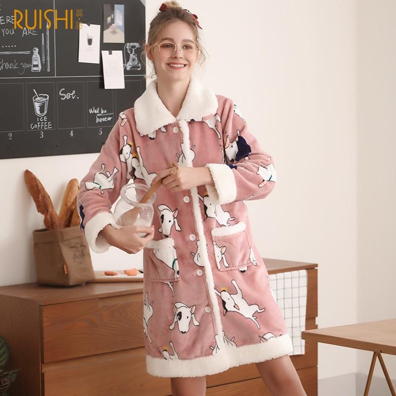 Túnicas femeninas J & Q, túnicas cálidas de invierno con estilo de dibujos animados para niñas, ropa para el hogar, Pijamas suaves de marca de alta calidad, Pijamas rosas, Pijamas encantadores