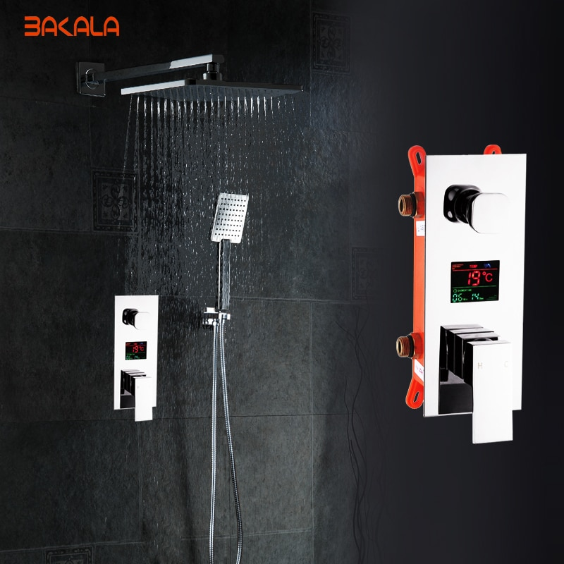 BAKALA Bathroom LED Shower Set.2 Functions LED Digital Display Shower Mixer.Concealed Shower Faucet.8 Inch Rainfall Shower Head bakala bathroom led shower set 2 functions led digital display shower mixer concealed shower faucet 8 inch rainfall shower head