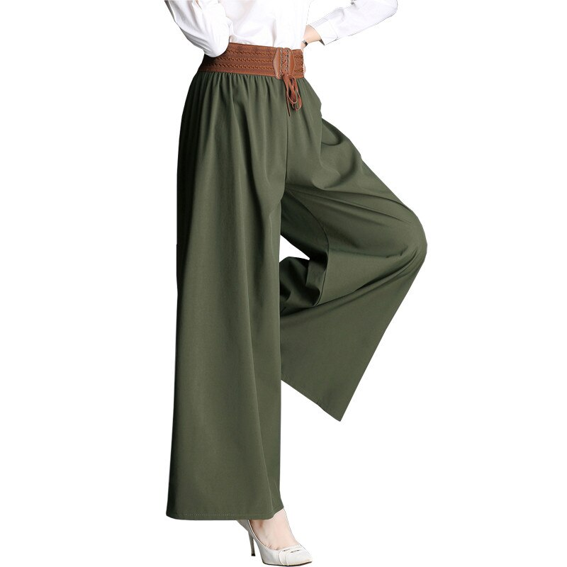 2019 NEW Women Wide Leg Pants Spring Summer Solid Elastic High Waist Pants Loose Large size Casual T