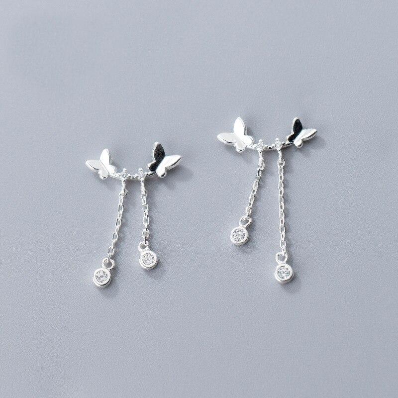 MloveAcc Genuine 925 Sterling Real Silver Butterfly Charm Earrings Fashion Tassel Earrings with CZ for Women