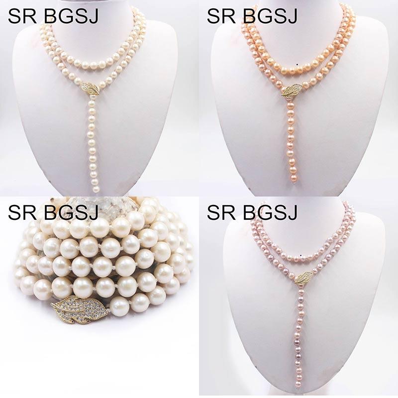 Envío Gratis 8-9mm 35 pulgadas perlas naturales de agua dulce nudo hebra hoja cierre mujeres collar largo 35 pulgadas