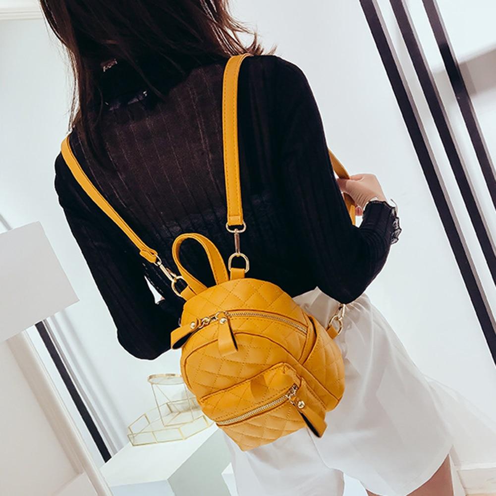 Moda rombal línea bordada cremallera mochila mujer Casual Color caramelo Mini bolsa de viaje 2019 nueva moda estilo coreano mochila