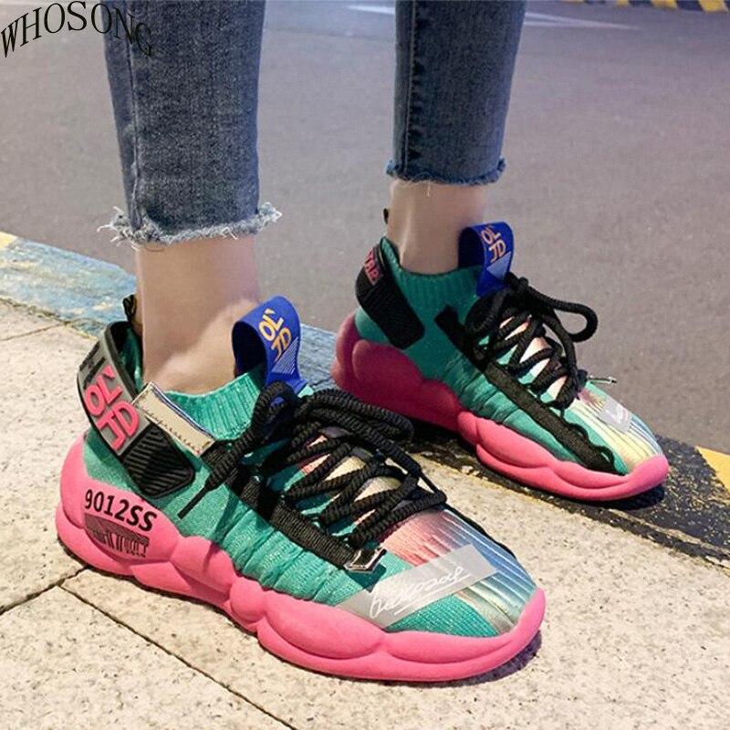 Nova primavera Desajeitado Sapatilha Sapatas Das Mulheres 2019 Primavera Voando e Tecelagem Respirável Reflexiva Fundo Grosso Lazer Sapato Sapatos m384