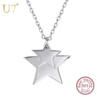 u7 100 925 sterling silver stack up doubletwo stars pendant chain 2018 valentines day gifts for women jewelry necklace sc41