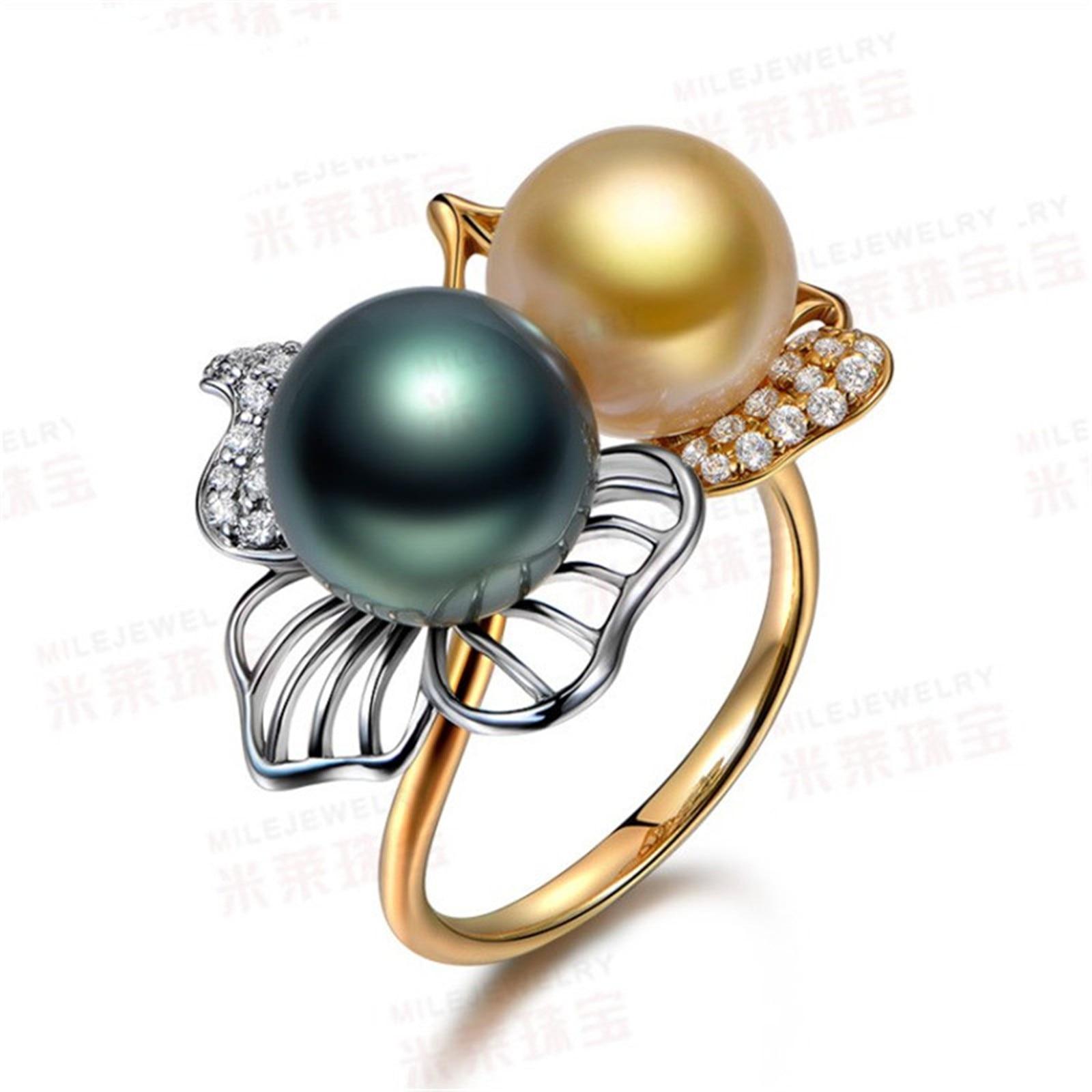Joyería de moda novedosa 2018 tamaño 6/7/8/9 anillos fiesta boda Color amarillo dorado perla regalo R014