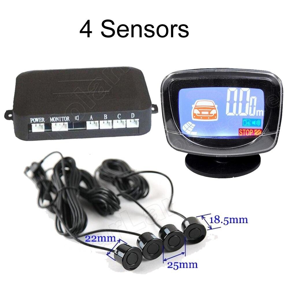 Sensor de aparcamiento LCD automático de 44 colores, 4 sensores, monitor de radar de respaldo reverso, sistema de visualización de Detector