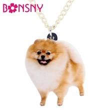 Bonsny Statement Acrylic Happy Pomeranian Dog Necklace Pendant Chain Choker Anime Cute Animal Jewelry For Women Girls Accessory
