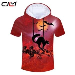 CJLM Happy Halloween Theme Cartoon Cat And Bat Men's Hooded Tshirt 3D Printed Animal Tee Shirt Polyester High Quality T-shirt